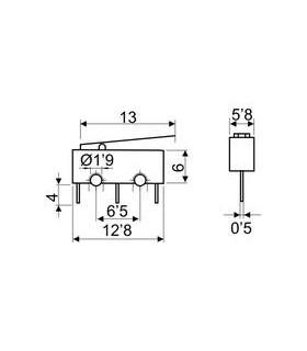 Micro Switch 13mm C/ Alavanca 11.501/P/1 dh - 914MSPP