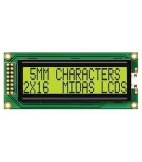 MC21605B6WK-SPR - LCD, 2X16, STN, REFLECTIVE, 5MM - CMC216