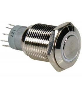 Pulsador Metálico Luminoso Azul, 0.5A a 230V e 1A a 24V - MXV1911D24BS