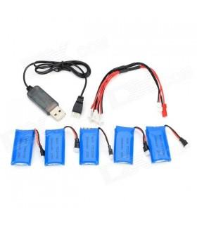 Pack 5 baterias com carregador  USB para Helicoptero R/C - MX314270