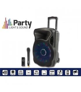 """COLUNA AMPLIFICADA 8"""" 300W USB/FM/BT/SD/BAT VHF PRETA - PARTY8LED"""