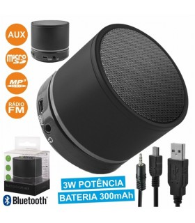 BS100 - COLUNA BLUETOOTH PORTÁTIL 3W USB/SD/AUX/FM/BAT/MIC - BS100