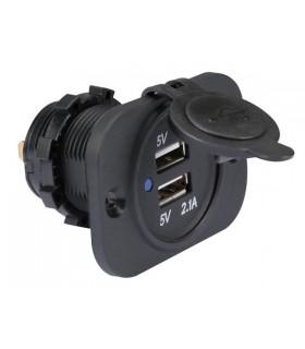 CC094 - Tomada USB Dupla de Embutir 12-24VDC P/ 5VDC - CC094