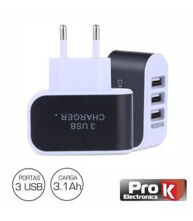 PKAUS02B - Alimentador Compacto 3 USB 5V 3.1A - PKAUS02B