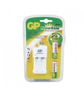 Carregador De Pilhas USB GP c/ 2 pilhas AA 2500mAh - GPPB530USB