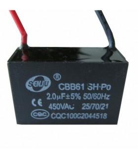 CBB61 - Condensador Filtragem 1uF 450VAC - CBB611U