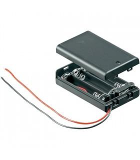 Suporte 4 pilhas LR6 Caixa com Interruptor - S4LR6I
