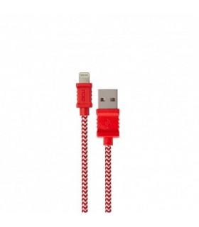 DCU34101235 - Cabo Lightning / USB 1mt Vermelho Branco Algod - DCU34101235