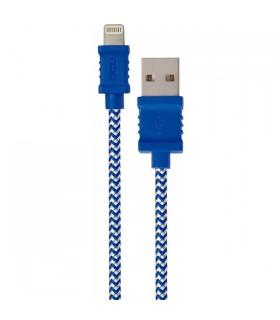 DCU34101250 - Cabo Lightning / USB 1mt Azul Branco Algodao - DCU34101240