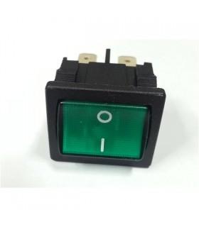 Interruptor Basculante Medio Duplo Luminoso - Verde - 914BMDL