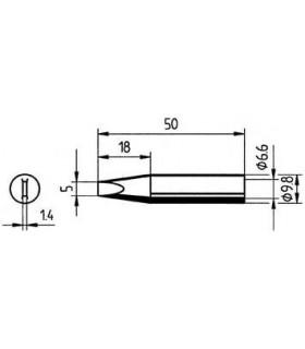 Ponta 5.0mm para ferros e estaçoes ERSA - 0832VDLF/SB